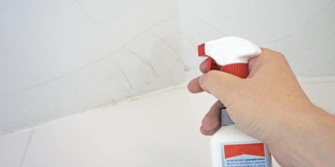 Spray mold stains with Schimmel-Ex to remove mold from the ceiling