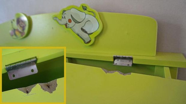 Torn off hinge on the lid of the toy box